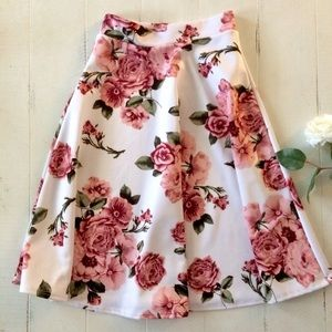 Dresses & Skirts - Pink Floral White A-Line Skirt